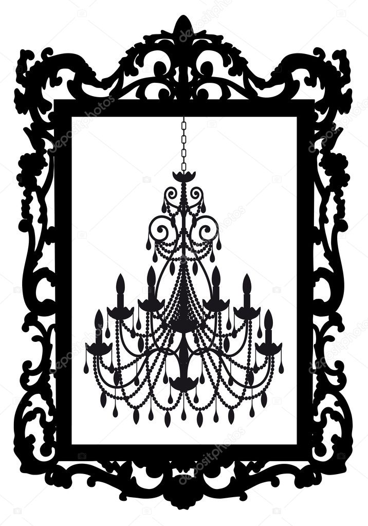 Antique picture frame with chandelier, vector — Imagen vectorial #5128130