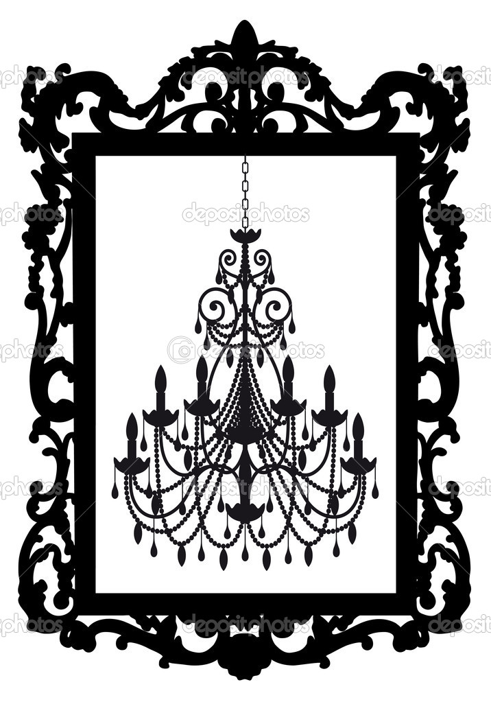 Antique picture frame with chandelier, vector — Stok Vektör #5128130