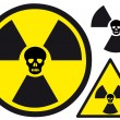 Nuclear symbol with skull — Stock Vector