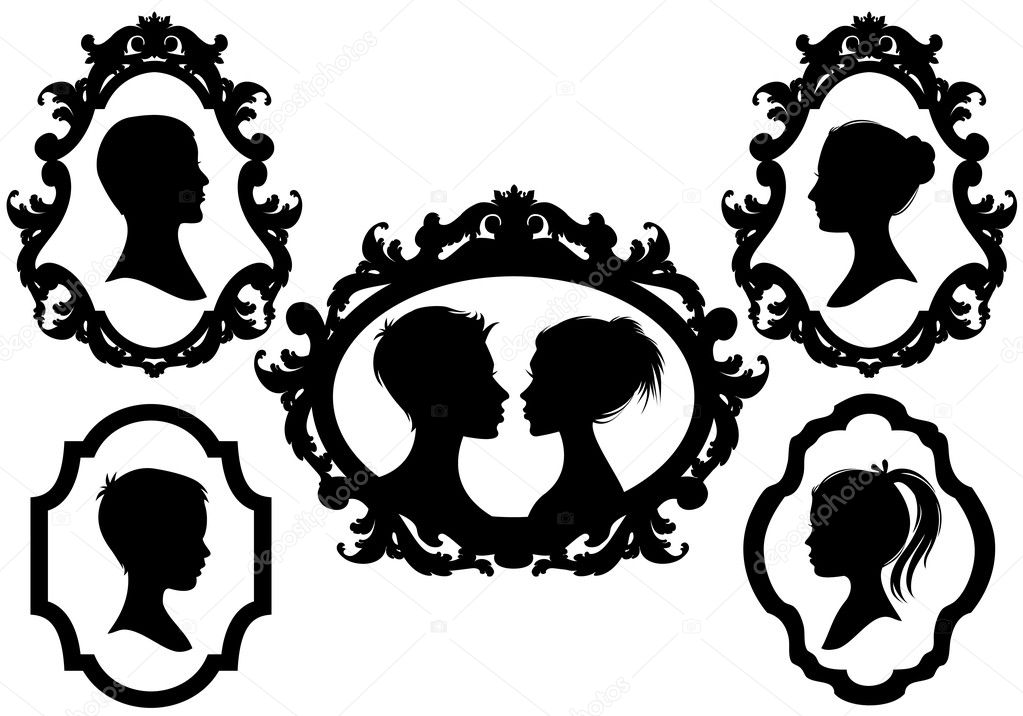 Portrait silhouettes with antique pictures frames, vector illustration — Stock Vector #5284758