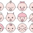 Royalty-Free Stock Vector Image: Baby faces, vector
