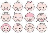 Baby faces, vector — Stock Vector