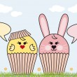 Cupcake easter bunny and chicken, vector — Stock Vector