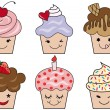 Cute cupcake faces, vector — Stock Vector