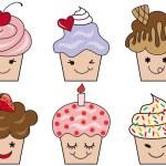 Cute cupcake faces, vector — Stock Vector