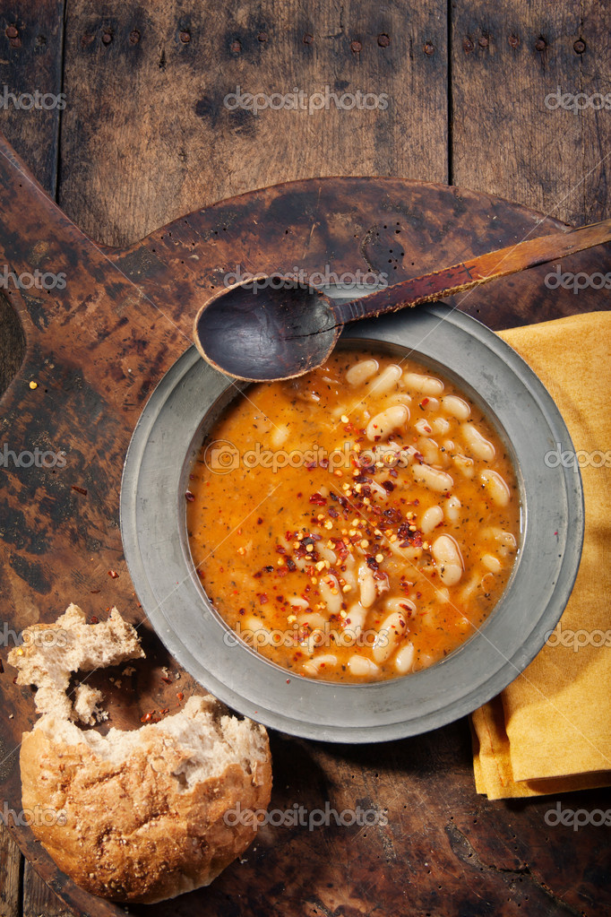 White bean stew with bread. Above shot — Stock Photo #4800342