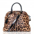 Luxury leopard female bag isolated on white — Stock Photo