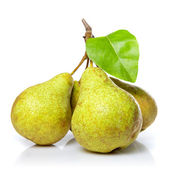 Yellow pears with leaf isolated on white — Stock Photo