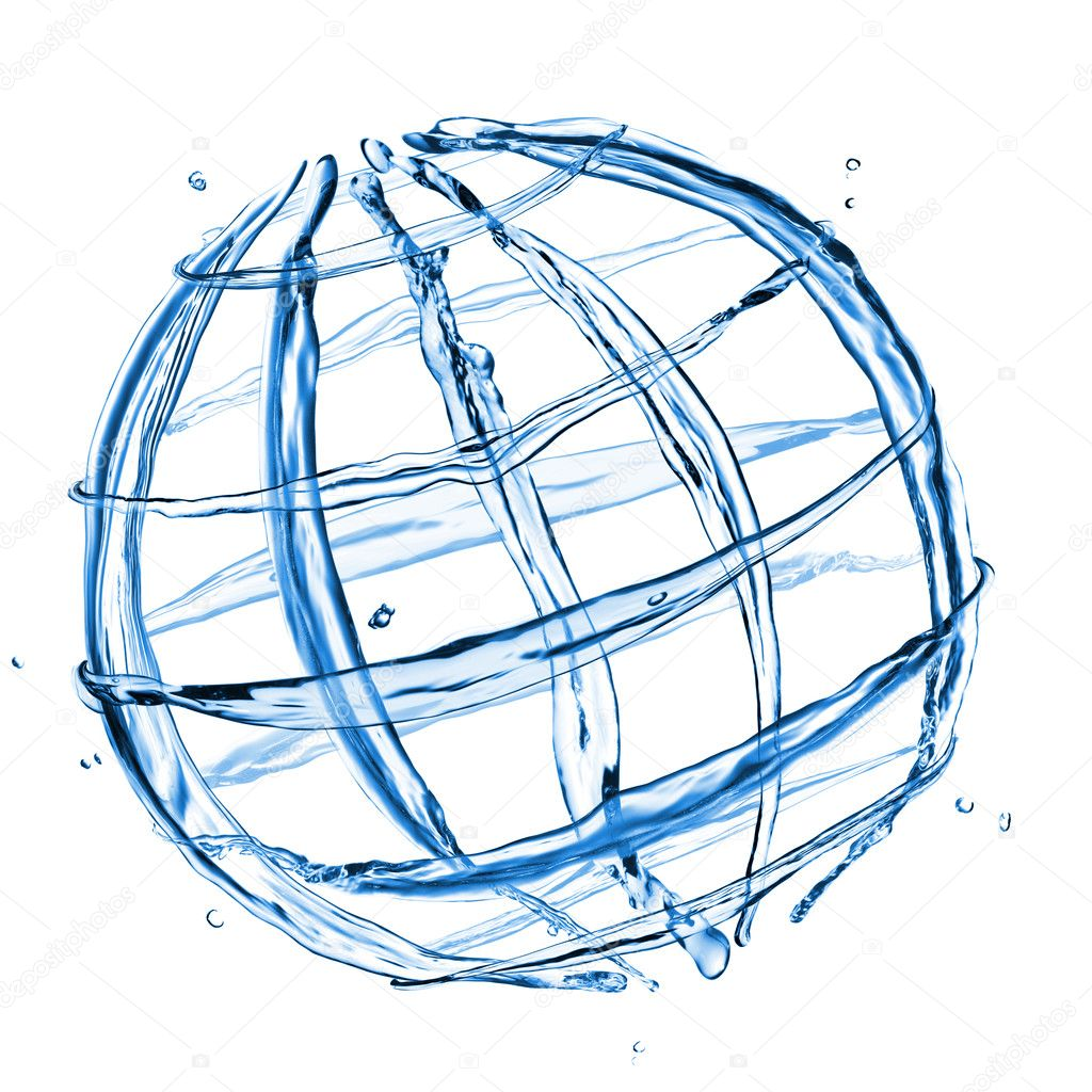 Abstract globe from water splashes isolated on white — Stock Photo #4051347