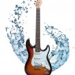 Electric guitar with water splash isolated on white — Stock Photo