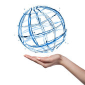 Globe from water with human hand isolated on white — Stock Photo