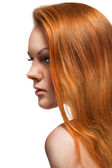Portrait of red hair beautiful woman on white — Stock Photo