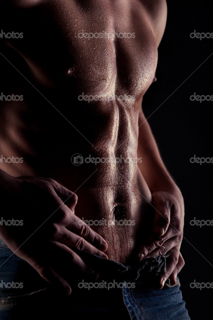 Sey Muscular Naked Man With Water Drops On Stomach Stock Image
