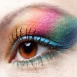 Colorfull rainbow make-up on woman eye — Stock Photo