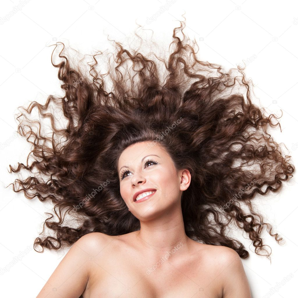 Portrait of sexy smiling woman with perfect hair isolated on white — Stock Photo #5261265