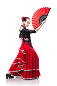 Young woman dancing flamenco isolated on white — Stock Photo