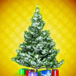 Christmas tree with gifts over yellow — Stock Photo