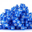 Heap of blue gift boxes — Stock Photo