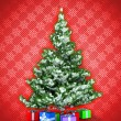 Stock Photo: New Year tree with presents over red