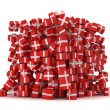 Pile of red gift boxes with presents — Stock Photo #4021890