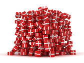 Pile of red gift boxes with presents — Stockfoto