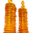 Euro and Dollar symbols over coins stacks — Stock Photo #4038361
