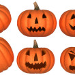Halloween pumpkins over white — Stock Photo