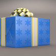 Blue Present or gift box with bow over grey — Stock Photo #4038720