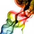 Colored Abstract smoke swirls on white - Stock Photo