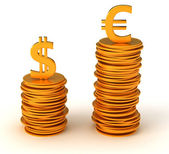 Currency inequality - US dollar and Euro — Stock Photo