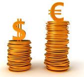 Valuta euro di vantaggio su di noi dollaro — Foto Stock