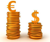 Euro Currency dominancy over US dollar — Stock Photo