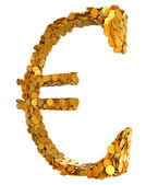 Golden Euro. Symbol assembled with coins — Stock Photo