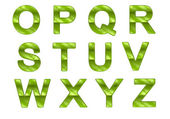 Green ecofriendly O-Z letters with grass pattern — Stock Photo