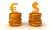 US dollar and Euro Currency equation — Stock Photo