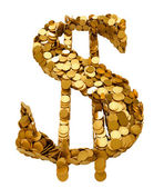 US Dollar symbol assembled with coins — Stock Photo