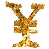 Yen currency stability. Symbol assembled with coins — Stock Photo
