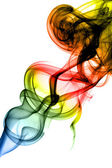Colored Abstract smoke swirls on white — Stockfoto
