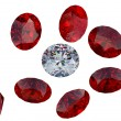 ������, ������: Large diamond among red rubies