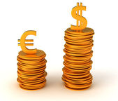 Dominance of USA Dollar over Euro — Stock Photo