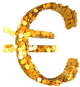 Euro currency and wealth. Symbol shaped with coins — Stock Photo