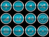 Round blue Control panel icons or buttons — Stock Photo