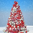 Firtree shape assembled with Xmas decoration — Stock Photo