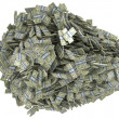 Money and wealth. Heap of US dollar bundles — Stock Photo