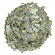 Sphere shape assembled of US dollar bundles — Stock Photo