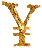 Japanese Yen. Symbol shaped with coins — Photo