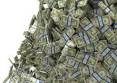 Much money and wealth. US dollar bundles falling — Stock Photo