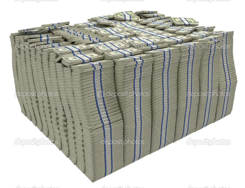 Much Money Large Stack Of Us Dollars Stock Photo 4180703