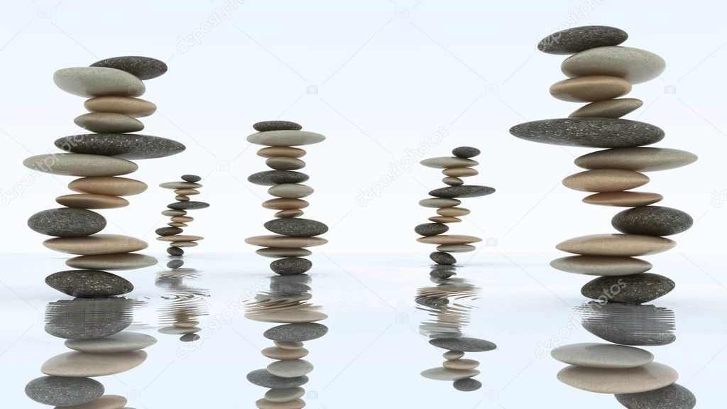 Stability and harmony concept. Pebble stacks on the water surface  Photo #4180800