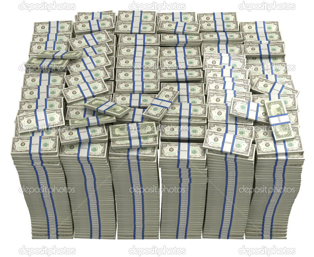 Treasury. Large bundle of US dollars isolated — Stock Photo #4180821